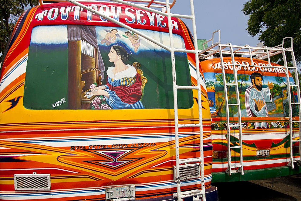 Igor Rugwiza UN Volunteer in Haiti made this Photo from painted TapTap Busses