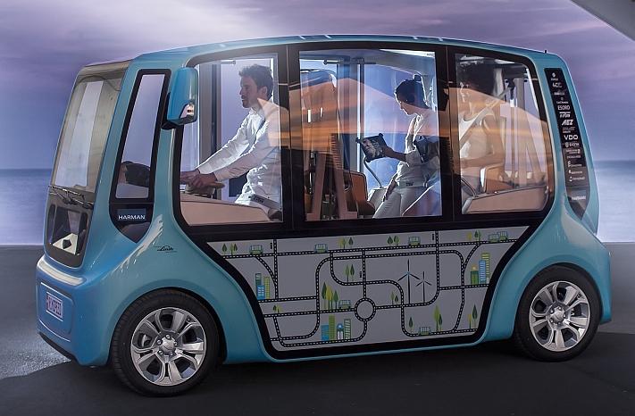 Sammeltaxi und Carsharing in einem, der Micromaxx von Rinspeed